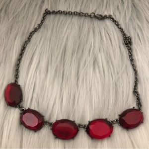 Vintage Red Rhinestone Goth Statement Necklace